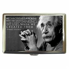 Albert Einstein Quote Stainless Cigarette Money Card Case Box