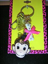 BETSEY JOHNSON AUTHENIC Monkey Keychain / Handbag Charm Crystals Bone Bow Charms