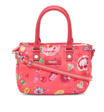 """Oilily - NWT - Small - 8x5"""" Coral Pink Floral Vine Logo Satchel Purse - Portugal"""