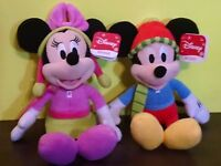 Disney Mickey Mouse & Minnie Mouse 9 Inch Holiday Mini Stuffed Figure New 2016