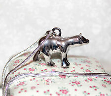 Cute silver plate polar bear pendant necklace *Christmas stocking filler*