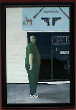 Framed 24x36 acrylic canvas portrait painting, Kelley's Gun Shop Northern Maine