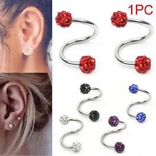 Stainless Steel Twist Helix Cartilage Crystal Ear Stud Body Piercing Earring FZ