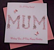 Handmade Personalised Floral Mum Word Birthday Card Silver Glitter Flowers
