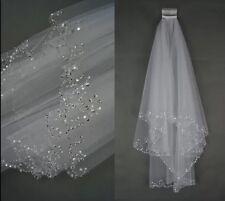 Bridal Wedding Ivory Veil 2 Tier Handmade Elbow Beaded With Comb