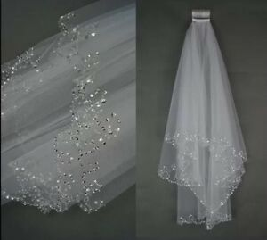 Ivory Bridal Wedding Veil 2 Tier Handmade Elbow Sequin Sparkle Beaded +Comb H1