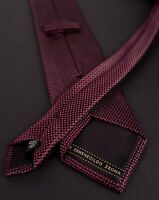 Ermenegildo Zegna Tie Red Black 100% Silk Made in Italy *C0929a3