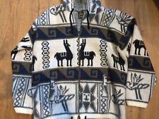Ruminahui Dream  Wolf Print Alpaga Wool, Full Zip Hooded Jacket XL Aztec Navajo