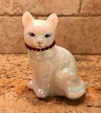 Vintage FENTON Opal Iridescent Cat Figurine Garnet Birthstone Necklace- MINT