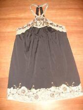 FREE PEOPLE BLACK ENCHANTED MAGICAL MOMENT EMBELLISHED BEADED HALTER DRESS - S