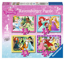 CHILDRENS DISNEY PRINCESS 4 IN A BOX JIGSAW PUZZLES RAVENSBURGER
