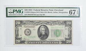 FR 2054-D $20 1934 DGS MULE Federal Reserve Note PMG 67 EPQ Consec *772