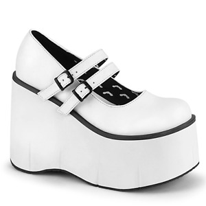 Goth Punk Lolita Buckled Mary Jane Style White Platform Heels DEMONIA Kera-08