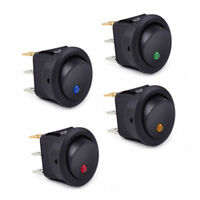 Waterproof 4Pc ON/OFF 12V LED Dot Light Car Auto Boat Round Rocker Toggle Switch