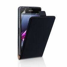 Caseflex Accessories Sony Xperia Z1 Compact Real Genuine Leather Flip Case Cover