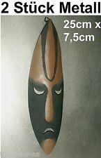 2x MASKE AFRIKA METALL AFRICA Bild Deko Metallmaske Wandmaske Aufhängeöse