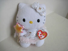 "6"" TY Sanrio HELLO KITTY ANGEL WINGS W/ STAR Holiday Plush Stuffed Animal"