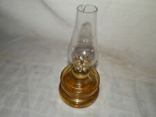 Vintage, 1970's, Japan, Miniature, Amber Glass & Clear Chimney, Oil Lamp