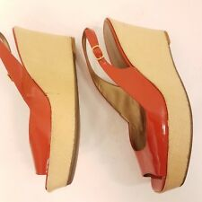 Marc Fisher size 8M Womens Open Peep Toe Strap Wedge Heel