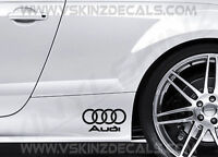 2x Audi Logo Premium Cast Skirt Decals Stickers S-line Quattro S3 S4 TT RS