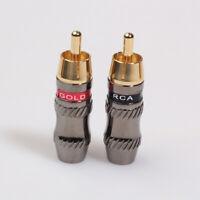 2* Metel RCA Phono Male Plug Non Solder Solderless Connector Adapter Terminal cv