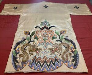 BEAUTIFUL VINTAGE JAPANESE EMBROIDERED SILK KIMONO CHINESE ROBE EMBROIDERY #3