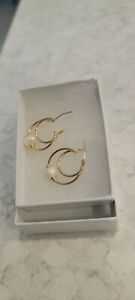 14kt YELLOW GOLD & PEARL DOUBLE HOOP EARRINGS #A - PRE-OWNED #12