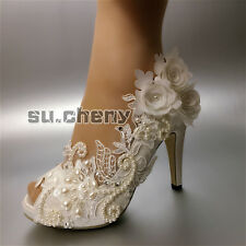 su.cheny Pearl satin white ivory lace flowers open toe Wedding Bridal heel shoes