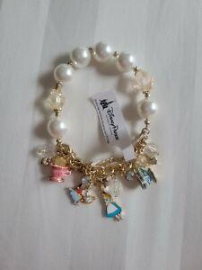 Disney Parks Alice In Wonderland Pearl And Charm Bracelet
