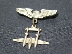 Scarce WWII Army Air Corps Pilot Sweetheart Pin Sterling w P-38 AAF