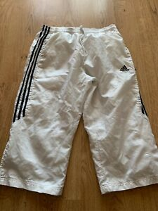 Mens Adidas 3/4 length Tracksuit Bottoms Pants in White and Blue Size 34 waist