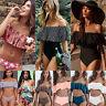 donna spalla scoperta a balze Set bikini vita alta Costumi da bagno