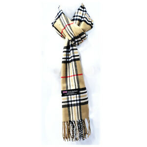Winter Checked Plaid Wool 100% CASHMERE SCOTLAND Made Stripe Solid Scarf Scarves
