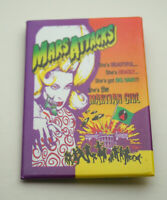Warner Brothers Mars Attacks Martian Girl Movie Promo Button Pin New NOS 1996