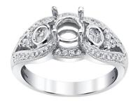 Diamond Engagement Ring Setting 18k White Gold 0.76ct Pie Cut