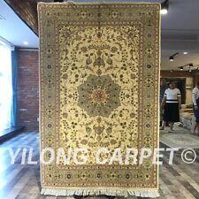 Yilong 4'x6' Kilim Handmade Wool Silk Rug Vintage Woollen Carpet For Sale 2047