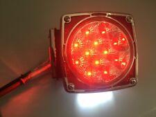 Chrome Bezel Red LED Square Trailer Utility Flat bed Truck Turn Tail Brake Light