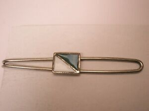 -Green & White Enamel Dive Flag Vintage Tie Bar Clip simple plain quality