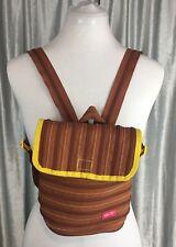 Zipit Girls Trendy Small Backpack Handbag Purse Brown Yellow Trim Zip Closure