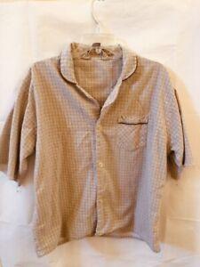 FLANNEL by Bud Berma Mens Large Brown Checkered Pajama Top Cut Short Sleeve VTG