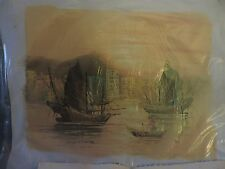 ANTIQUE ORIENTAL OIL ON CANVAS PAINTING-TWO DRAGON SAIL BOATS AND JUNKET
