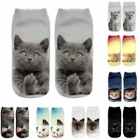 Christmas Funny Girls Casual Socks 3D Cute Cat Printed Anklet Xmas Short Socks