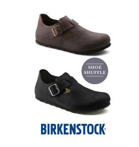 Birkenstock London Leather, Narrow fit, Standard Footbed Buckle Unisex Shoe