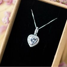 Heart Crystal Zircon Pendant Necklace Silver Chain Women Lover Jewelry Gift
