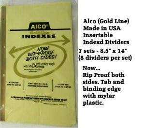 ALCO - GOLD LINE INDEX DIVIDERS 7 SETS OF 8 DIVIDERS