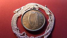 "1964 IRISH HORSE CELTIC HARP 1/2 CROWN Coin Pendant 30"" Italy Silver Wheat Chain"