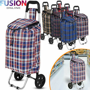 Large Shopping Trolley Cart 2 Wheels Foldable 47L Capacity Durable Luggage Bag