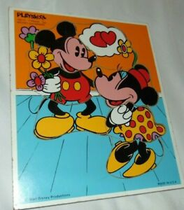 Vintage PLAYSKOOL 190-17 Walt Disney Mickey & Minnie 7 pc Wood Puzzle