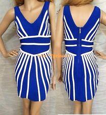 NWT bebe white blue colorblock zipper back deep v bandage top dress XL 10 12