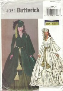 Butterick 4051 Gone With the Wind Scarlett O'Hara Drape Costume Pattern 12 14 16